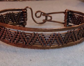 Double Flame Weave Copper Bracelet with Hammered Bands