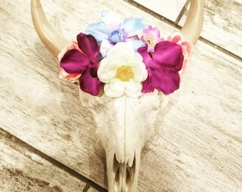 Bull Skull with Flower Headpiece