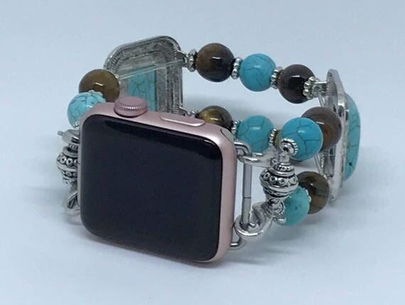 Apple Watch Band, Women Bead Bracelet Watch Band, iWatch Strap, Apple Watch 38mm, Apple Watch 42mm, Turquoise, Deep Brown Size 7 1/2 - 7 3/4