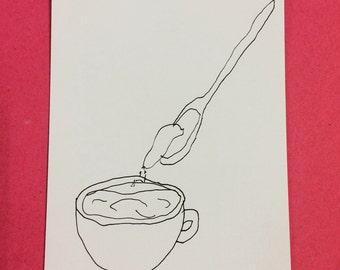 Caffeinated hand drawn illustration
