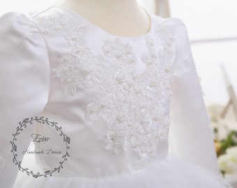 Long Sleeve Off White Pearl Beaded Lace Flower Girl Tutu Dress, Vintage Style, Baptism Christening Girl Dress