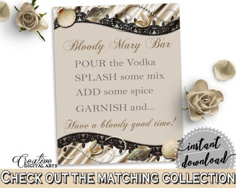 Seashells And Pearls Bridal Shower Bloody Mary Bar Sign in Brown And Beige, bloody mary sign, sea and pearls, prints, digital print - 65924