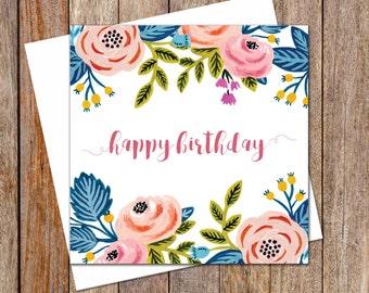 Birthday Cards. Female Birthday Card. Greeting Card. Flowers Card. Garden Lover Card. Birthday Card. Gift Card. Flowers Theme Birthday Card