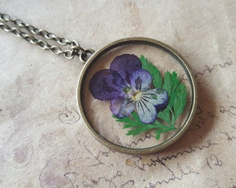 Pansy glass necklace ~ bronze ~.