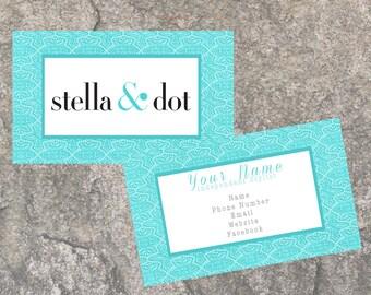 Stella and Dot business card, marketing, branding, blue, stella & dot, classic business card, printable, digital