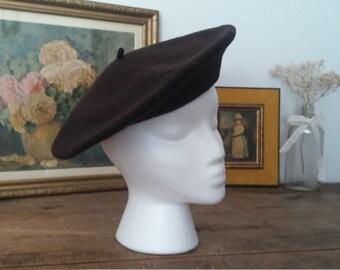 Béret français, brun chocolat, béret vintage, béret vintage, béret oldschool, grandeur adulte, chapeau femme, chapeau brun, chapeau collège
