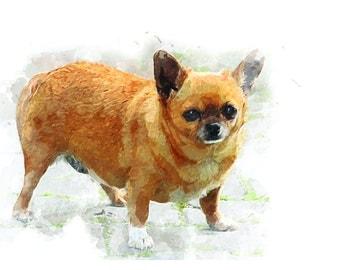 Custom Portrait Pet Dog Portrait Painting Watercolor Digital Painting Photo Custom Art Custom Watercolor Painting Portrait From Photo - IDP5