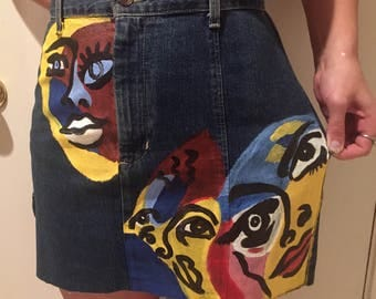 Abstract denim skirt
