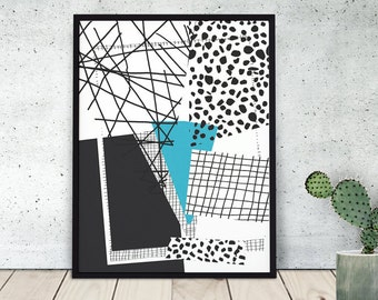 PING PONG PLING / art print / wallart / giclee / abstract / paper collage / colourful wall art / geometric / black & white / tuerquoise