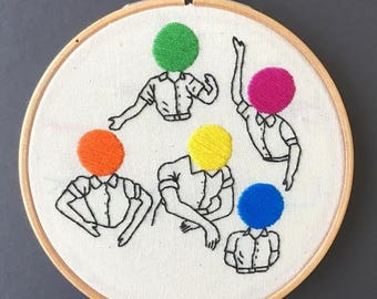 Colourful Heads Embroidery Hoop // Hand Stitched // Wall Hanging