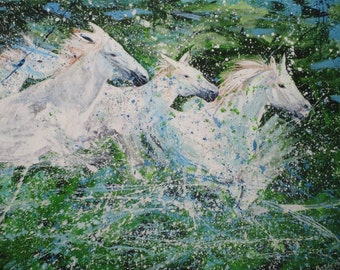Carmague Water Horse, Giclee Print.