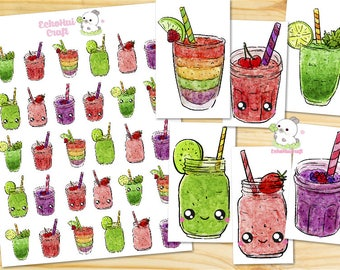 Smoothies/ Drinks Kawaii Icon Planner Sticker