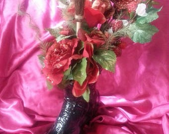 Homemade Witch Boot Butterfly Roses Bouquet