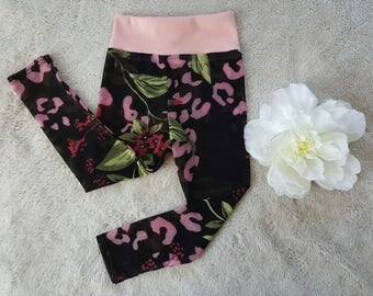 Baby girl leggings/ floral leggings/12-18month/ summer footless tights