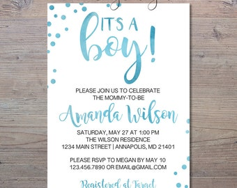 It's A Boy Baby Shower Invitation, Blue Watercolor Baby Shower Invite, It's A Boy, Shower Invitation, Blue Baby Shower, Watercolor Shower