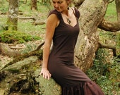 Asymmetric dress, Rustic clothing for women, Brown dresses, Boho clothes for her, Festival style, Tribal fashion, Fairy chic, Midi length