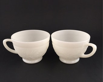 Vintage Milk Glass Tea Cups Daisy Pattern By Anchor Hocking Set Of 2