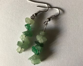 Shades of Green Stacked Stone Drop Earrings