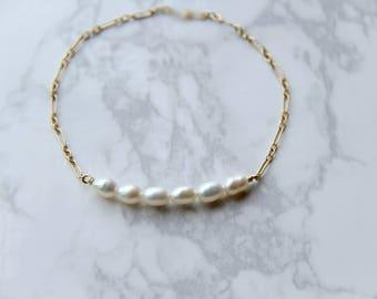 14k gold filled freshwater rice pearl bracelet