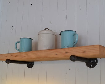 Rustic pipe shelf, industrial pipe, reclaimed wood
