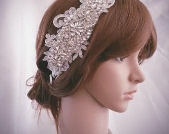 Weddings, Crystal headband, Silver Wedding headband, Rhinestone headband, Lace headband, Bridal headpiece, Hair Accessories