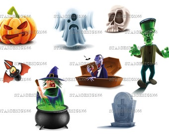 Digital EPS PNG JPG Halloween, pumpkins face, ghost, witch, skull, bat, frankenstein, tombstone, dracula, vector, clipart, instant download