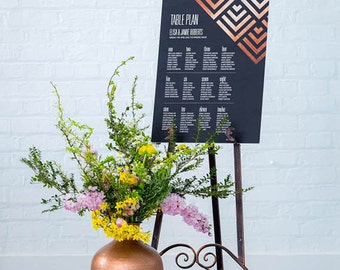 Wedding table plans - Geometric design, personalised with your details and your guest names