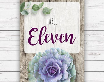 Wedding table numbers - Isabella design, beautifully printed