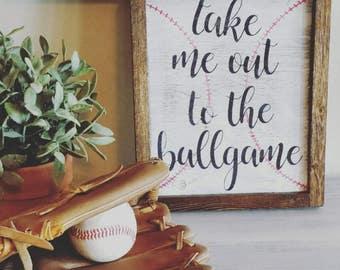 Baseball Farmhouse Wood Sign