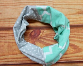 Infinity scarf two 6-36 months - Mint and gray colors