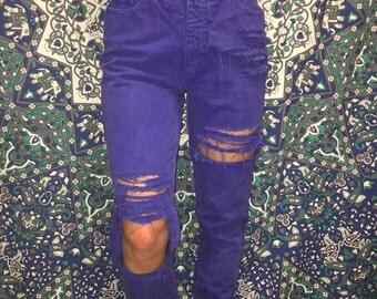 DISTRESSED high waisted- Electric Blue mom jeans