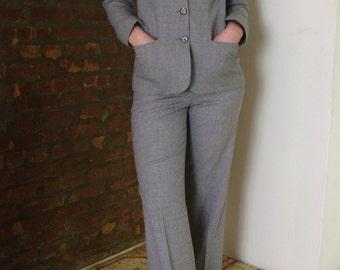 Grey Wool Cashmere Vintage Ralph Lauren High Waist Suit Sz 4