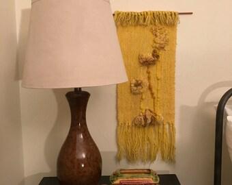 Yellow Fiber Art, Fiber Wall Art, Woven Art, Mid Century Wall Art, Mid Century, Flower Art, Textile, Textile Wall Art, Wall Art, Woven
