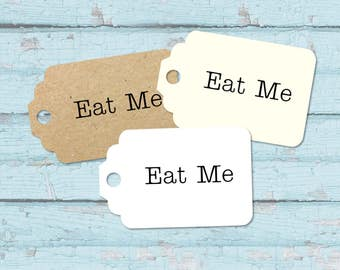 10 Wedding / Party Favour Tags, Eat Me - Small Luggage Shaped Tag