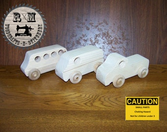 Wood Toy Truck Set
