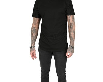 Junq Couture Zawty Longline T-shirt with Embossed Snake Skin Look Fabric - Black