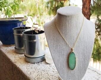 Natural Stone necklace: mint green quartz slice