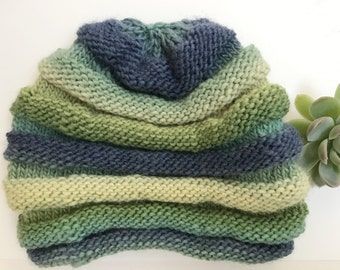 Green and Blue Multi-Tiered Winter Hat