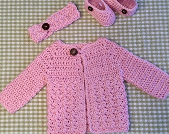 Handmade Crochet Newborn Baby Girl Sweater Set