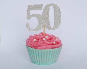 50th Birthday Cupcake Toppers, 50th Birthday Party, Glitter Cake Toppers, Number Cake Toppers, 50th Birthday Decor, Party Supplies