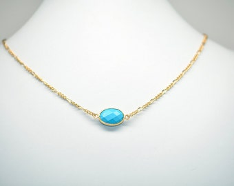 Turquoise Faceted Single Station Necklace