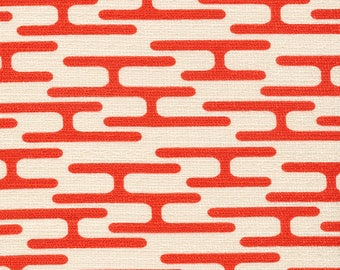 Barkcloth - Holding Pattern, Get Lost Orange by Jessica Jones for Cloud 9 Organic - Mid Century pattern