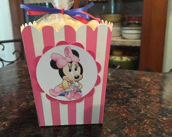 12 Baby Minnie Mouse Mini Party Favor Popcorn Boxes
