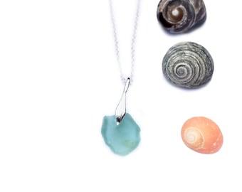 Aqua Blue Sea Glass Necklace - St Ives