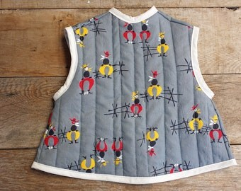 1950's Vintage Cowboy Fabric Baby Bib - Quilted Smock-style