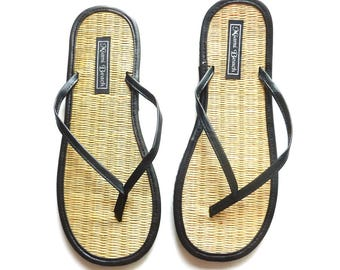 Flip-Flops of rice straw with thong black imitation leather (4.5-9.5)