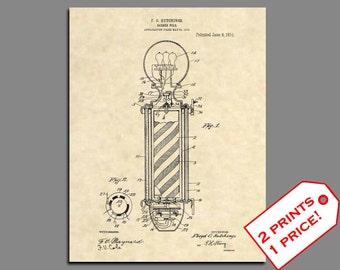 Barber Art - Barber Pole Patent Prints - Vintage Barber Shop Wall Art Patent Art - Barber Wall Decor Patent Print - Barber Decor Prints - 29