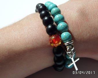 Set of two bracelets, bracelet with cross, black bracelet. Unisex handmade bracelets.