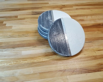 Concrete coasters White and Gray with silver accent