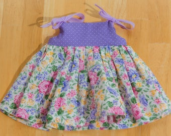 """18"""" and #American Girl Doll #purple and floral #sundress with ribbon ties"""